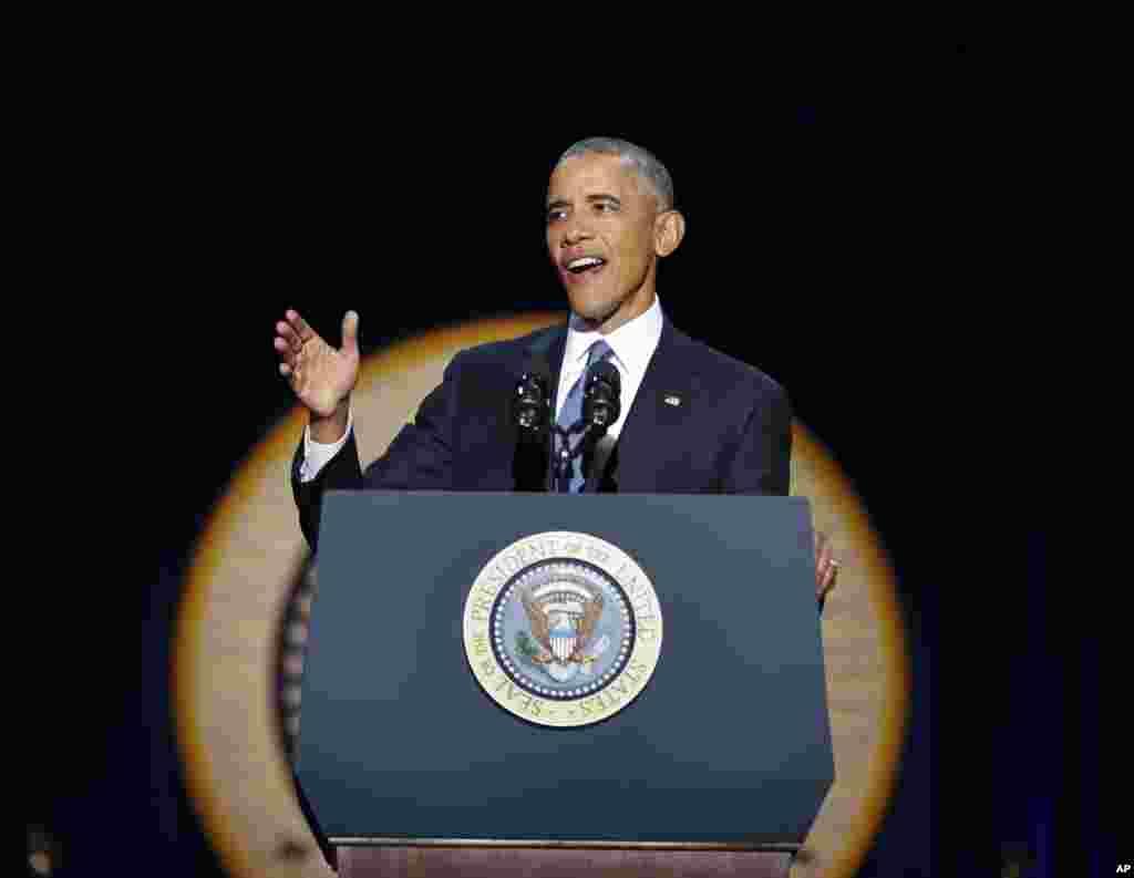 Rais Barack Obama akitoa hotuba yake ya mwisho kama kiongozi wa Marekani kwenye uwanja wa McCormick mjini Chicago, Jan. 10, 2017.