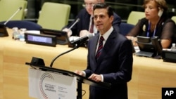 Mexico's President Enrique Peña Nieto addresses the United Nations Summit for Refugees and Migrants, in the Trusteeship Council Chamber of the United Nations, Sept. 19, 2016.