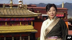 Tibetan Writer Woeser in traditional Tibetan dress