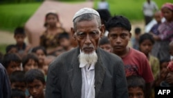 This picture taken on October 10, 2012 shows an elderly Muslim Rohingya man pictured outside his tent at the Dabang Internally Displaced Persons (IDP) camp, located on the outskirts of Sittwe, capital of Myanmar's western Rakhine state. More than 50,000