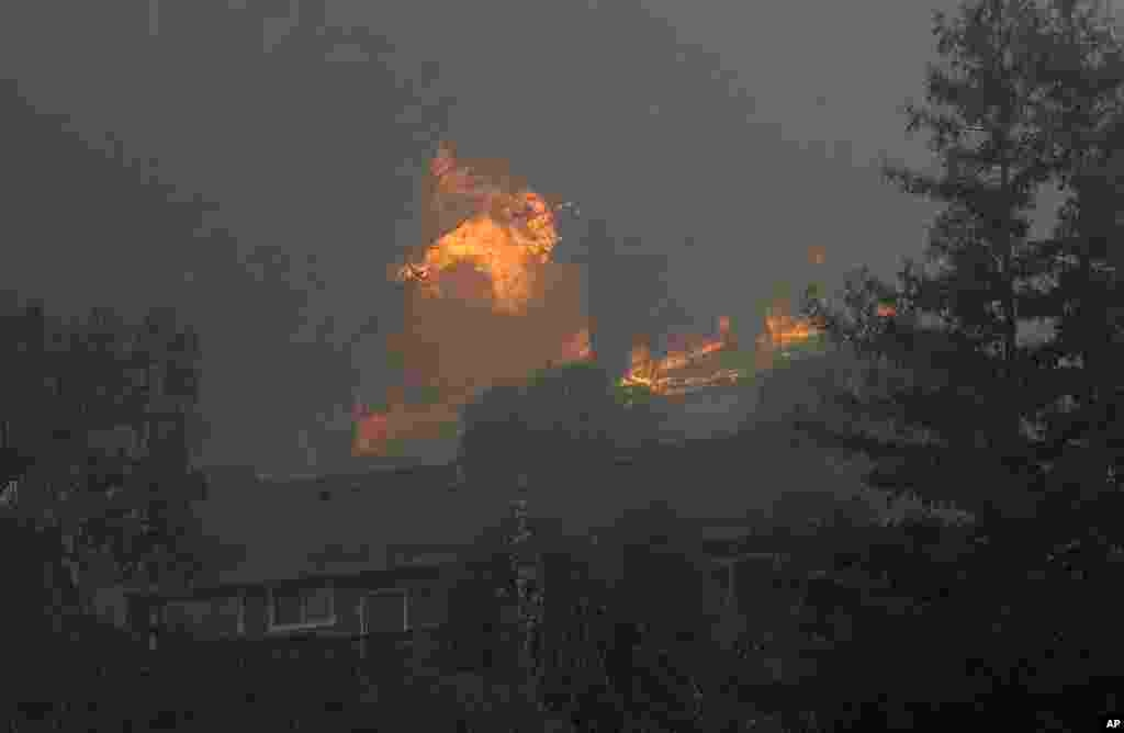 A tree catches fire near houses in the Oakmont area of Santa Rosa, California, Oct. 10, 2017.
