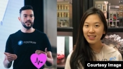 Shown are two winners of the CodeTheCurve hackathon challenge. From left, Ali Serag, leader of the COVIDImpact team, and Christy Xie, from team VRoam. (Photos: CodeTheCurve/Facebook)