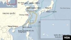 Bản đồ vùng phòng không của Trung Quốc và Nhật Bản ở biển Hoa Ðông.