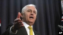 Thủ tướng Australia Malcolm Turnbull nói chuyện với báo chí tại Hạ viện Australia ở Canberra, ngày 8/8/2017.