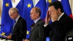 Xерман Ван Ромпей, Владимир Путин и Жозе-Мануэл Баррозу. Санкт-Петербург. 4 июня 2012 г.