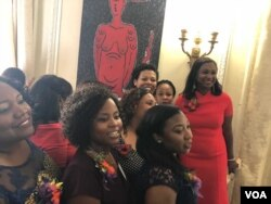 Haitian Ladies Brunch organizing committee watches as Ambassador Paul Altidor praises their hard work to plan the popular annual event, Oct. 7, 2018. (Photo: S. Lemaire / VOA)