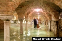 The flooded crypt of St Mark's Basilica is pictured during very high water levels in Venice, Italy November 13, 2019