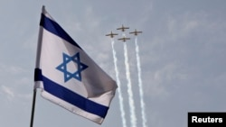 Ảnh tư liệu: Chiến đấu cơ của không quân Israel bay diễn tập chuẩn bị cho lễ Quốc khánh của Israel tại Jerusalem.