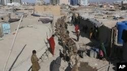 阿富汗男童在喀布爾的臨時居所牧羊。