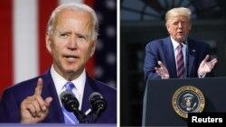 共和黨總統特朗普(右) 和民主黨的預定候選人拜登(左)。