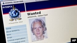 "View of the Interpol ""wanted"" page for WikiLeaks founder Julian Assange taken in Washington, 3 Dec 2010"