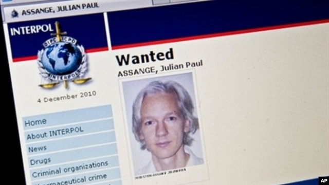 """View of the Interpol """"wanted"""" page for WikiLeaks founder Julian Assange taken in Washington, 3 Dec 2010"""