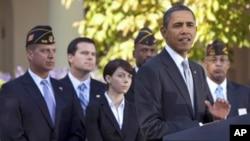 美國總統奧巴馬將出席紀念退伍軍人節活動﹐圖為他較早前在白宮宣佈將會協助退伍軍人就業。