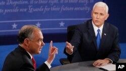 Demokrat Parti başkan yardımcısı adayı Tim Kaine (solda) ve Cumhuriyetçi Parti başkan yardımcısı adayı Mike Pence