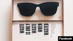 A w.r.yuma ad on Facebook for their recycled sunglasses.