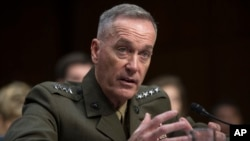 Gen. Joseph Dunford testifies during his Senate Armed Services Committee confirmation hearing to become the next Chairman of the Joint Chiefs of Staff, on Capitol Hill in Washington, July 9, 2015.