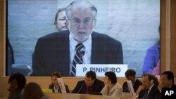 17일 스위스 제네바에서 열린 유엔 인권이사회에 참석한 파울로 피네이루 시리아조사위원장.