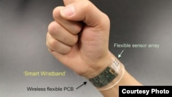 """The flexible sensor developed at UC Berkeley can be made into """"smart"""" wristbands or headbands that provide continuous, real-time analysis of the chemicals in sweat."""