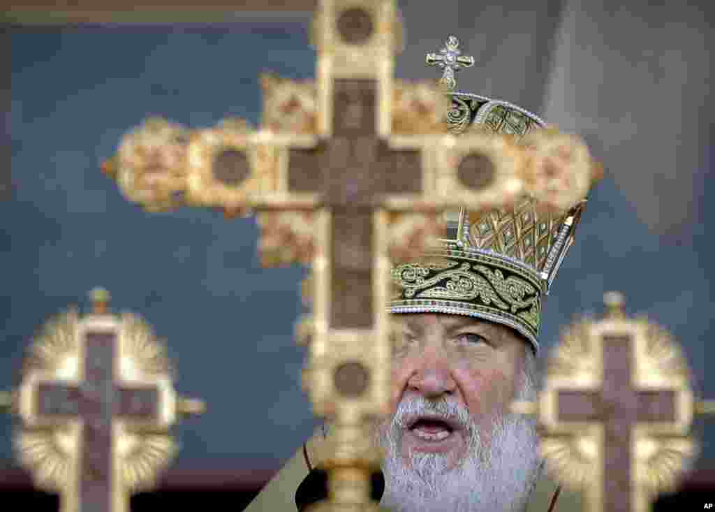 The head of the Russian Orthodox Church Patriarch Kirill speaks during a religious service in Bucharest, Romania.