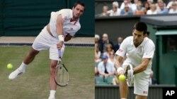 Jedan na drugog: Viktor Troicki (levo) servira protiv Huana Monaka, Novak Đoković vraća protiv Radeka Stepaneka