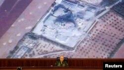 17일 모스크바에서 세르게이 루드스코이 러시아군 총참모부 작전총국장이 기자회견을 하고 있다.