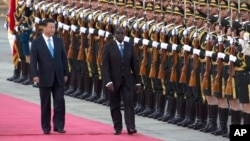 FILE - Chinese President Xi Jinping, left, walks with Zimbabwe's President Robert Mugabe during a welcome ceremony outside the Great Hall of the People, Beijing, Aug. 25, 2014.