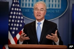 Health and Human Services Secretary Tom Price speaks during the White House press briefing in Washington, March 7, 2017.