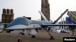 广东珠海中国国际航空航天博览会上展出的CH-4无人机。(2021年9月29日)