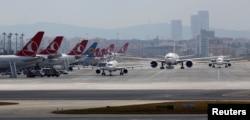 Aircraft taxi at Ataturk International Airport in Istanbul, Turkey, June 29, 2016.