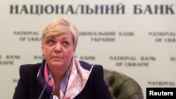 Valeria Hontareva, head of Ukraine's central bank, is seen at a news conference in Kyiv, Dec. 30, 2014.