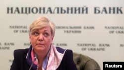 Valeria Hontareva, head of Ukraine's central bank, is seen at a news conference in Kyiv Dec. 30, 2014. (REUTERS/Konstantin Grishin )