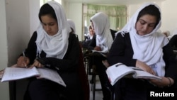 Girls are seen attending class in Kabul (FILE).