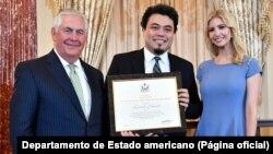 Rex Tillerson (secretário de Estado), Leonardo Sakamoto e Ivanka Trump (assessora da Casa Branca)