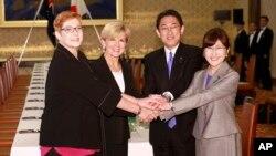일본과 호주의 외무·국방 장관들이 20일 일본 도쿄에서 회담(2+2)을 가졌다. 왼쪽부터 마리스 페인 호주 국방장관, 줄리 비숏 호주 외무장관, 후미오 기시다 일본 외무상, 토모미 이나다 일본 방위상.