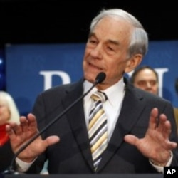 Republican presidential candidate U.S. Representative Ron Paul (R-TX) addresses supporters at his Maine caucus night rally in Portland, Maine, February 11, 2012.
