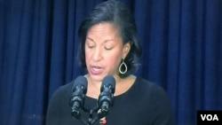 美国家安全顾问赖斯举行记者会 (美国之音莉雅拍摄)