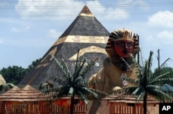 FILE – This July 5, 1999 shows a 40-foot pyramid at a 476-acre compound in Eatonton, once home to a group calling itself the Yamassee Native American Nuwaubians and bulldozed in 2005, after their leader was convicted of child molestation and racketeering.