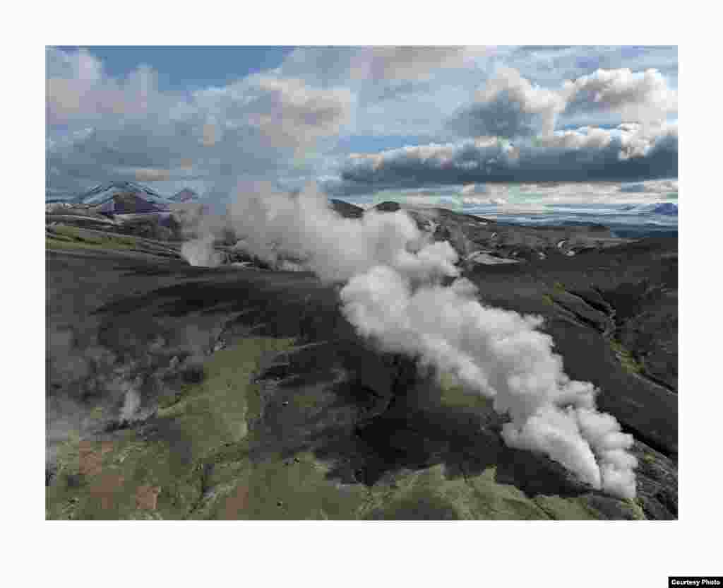 This steam plume is found in the highlands of the Torfajökull volcanic system, which contains big, powerful geothermal fields or subsurface reservoirs of the Earth's heat. (Feo Pitcairn Fine Art)