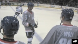 Hamburg Freezers warm up before the game