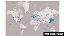 恶意软件Hikit全球侦测及感染分布图(照片来源:Novetta.com报告网络截屏)