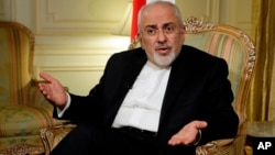 Iran's Foreign Minister Mohammad Javad Zarif is interviewed by The Associated Press, in New York, April 24, 2018.