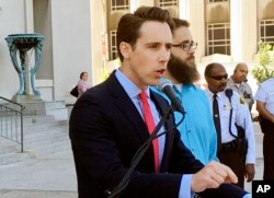 Missouri Attorney General Josh Hawley at a news conference last month.