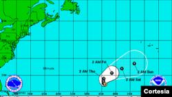 Trayectoria hacia el noreste de la tormenta Jerry, que parece alejarse del continente americano.