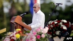 Phó Chủ tịch Cuba Jose Ramon Machado Ventura nói chuyện trong buổi lễ ở thành phố Ciego de Avila