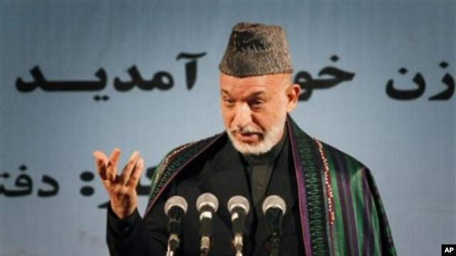Afghan President Hamid Karzai, during a speech in Kabul, calls on losing candidates not to take their complaints to the streets but instead to those empowered to deal with them, 24 Nov 2010