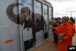 A Buddhist monk sprinkles holy water around the crate containing Kaavan the Asian elephant upon his arrival in Cambodia from Pakistan at Siem Reap International Airport in Siem Reap on November 30, 2020. (Photo by TANG CHHIN Sothy / AFP)