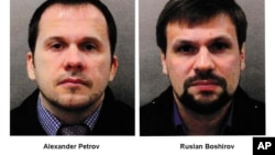 This combination photo made available by the Metropolitan Police on Wednesday Sept. 5, 2018, shows Alexander Petrov, left, and Ruslan Boshirov. British prosecutors have charged two Russian men, Alexander Petrov and Ruslan Boshirov, with the nerve agent po