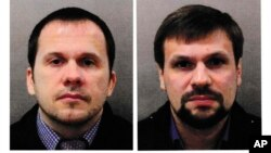 This combination photo made available by the London Metropolitan Police Sept. 5, 2018, shows Alexander Petrov, left, and Ruslan Boshirov.