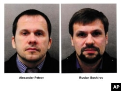 FILE - This combination photo made available by the Metropolitan Police on Sept. 5, 2018, shows Alexander Petrov, left, and Ruslan Boshirov.