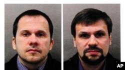 Портрети двох російських громадян, відомих як Александр Петров і Руслан Боширов, яких Велика Британія назвала російськими агентами під вигаданими іменами, що були причетні до спроби вбивства Сергія Скрипаля у Солсбері в Англії 2018 р.